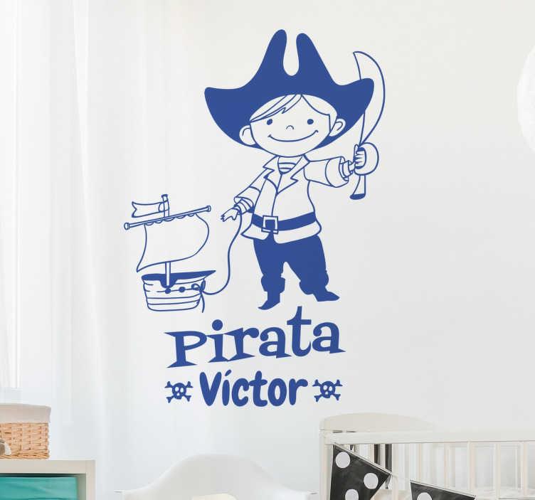 TenVinilo. Vinilo infantil personalizable nombre pirata. Vinilos decorativos infantiles de piratas en los que podrás modificar el nombre que aparece en la ilustración.