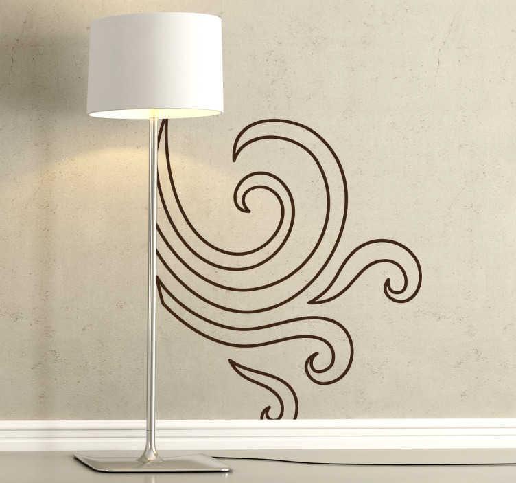 TenStickers. Sticker modern krullen lucht. Deze muursticker omvat moderne vormen met elegante krullen. Verkrijgbaar in verschillende kleuren en maten. Eenvoudig aan te brengen.