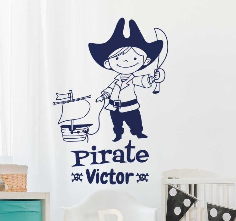TenStickers. Kids Personalised Pirate Sticker. A personalised kids wall sticker with a fun pirate design! Add any name you like to this decal to make it more unique to you.
