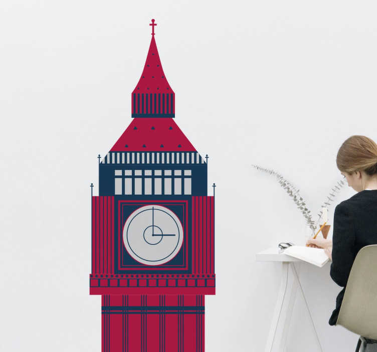 TenStickers. Big Ben Tower Sticker. Beautiful illustration of the clock tower, otherwise known as Big Ben that is situated in the Palace of Westminster in London.