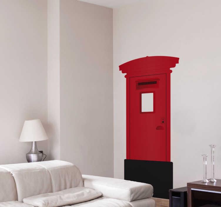 TenStickers. Londyńska skrzynka pocztowa. Prosta a zarazem wyrafinowana naklejka ścienna ikony Londynu czerwonej skrzynki pocztowej.