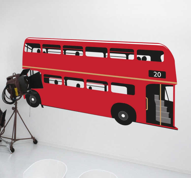 TenStickers. Bus londyński naklejka ścienna. Naklejka ścienna z kolekcji naklejek tematycznych, świetny designerski i ikonowy czerwony,dwupiętrowy bus w Londynie.