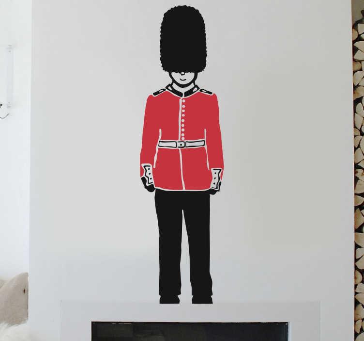 TENSTICKERS. クイーンズガードウォールステッカー. クイーンのガードステッカー。ロンドンの壁のステッカーのコレクションからバッキンガム宮殿を見守るガードの魅力的なイラスト。