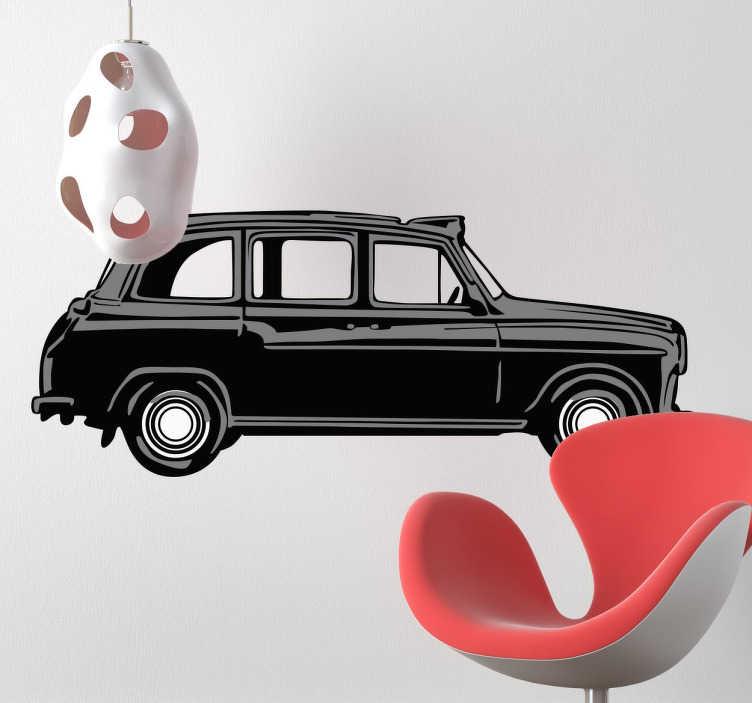TenStickers. Czarna londyńska taksówka naklejka ścienna. Modna i stylowa naklejka przedstawiająca czarną taksówkę w Londynie. Idealna,aby dodać stylowego look'u Twojemu mieszkaniu.