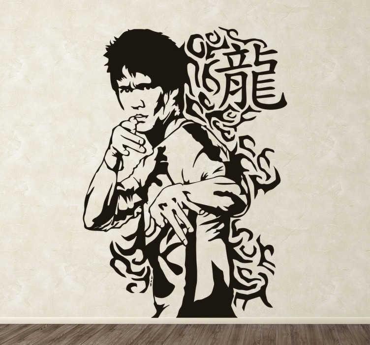 TenVinilo. Vinilo decorativo Artes Marciales Orientales. Vinilo decorativo de un hombre en posición de defensa. Una ilustración que hará de las paredes de tu hogar un sitio especial y diferente para los amantes de la lucha y las artes marciales.