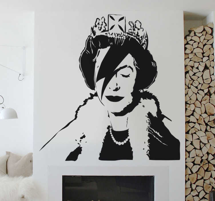 TenStickers. Banksy Mono-colour Queen Elizabeth Sticker. A wall sticker with a cool urban art design of Queen Elizabeth with a Ziggy Stardust lightening strike across her face; created by artist Banksy.