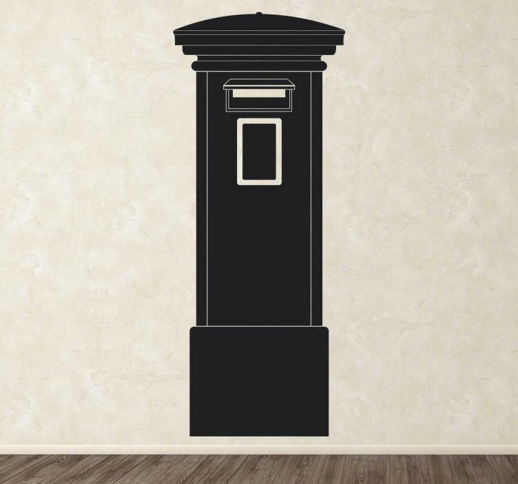 TenStickers. Muursticker Brievenbus Londen. Een klassieke en monogame muursticker die de brievenbussen die in Londen gebruikt worden illustreert.