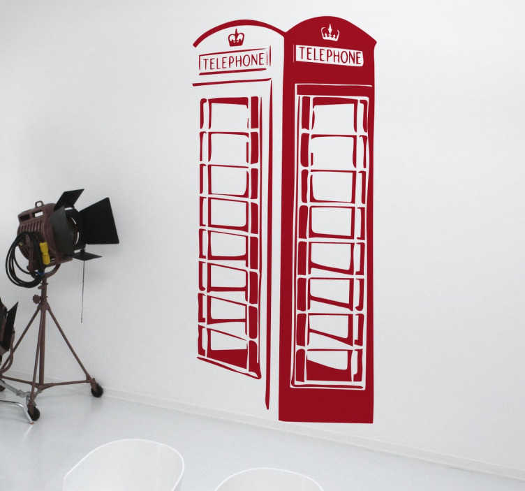 TenStickers. Telephone Box Wall Sticker. A stylish silhouette decal of an iconic red telephone box that can be found on the streets of Britain.