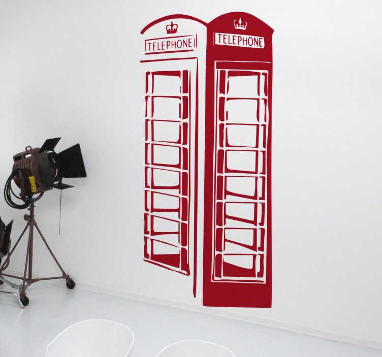 """TenStickers. rød telefonboks wallsticker. en stilfuld silhuet  sticker med en ikonisk rød telefonboks, der kan findes på gaderne i Storbritannien. Giv dit hjem et """"Cool Britannia"""""""