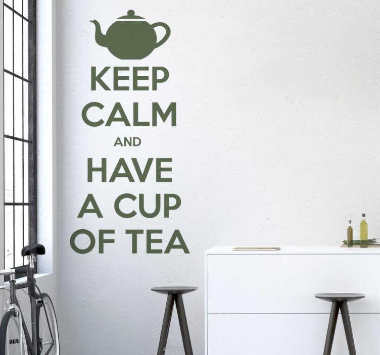 TenStickers. Wall sticker Keep Calm Tea. Wall sticker decorativo dalla nostra collezione Keep Calm.. and have a cup of tea