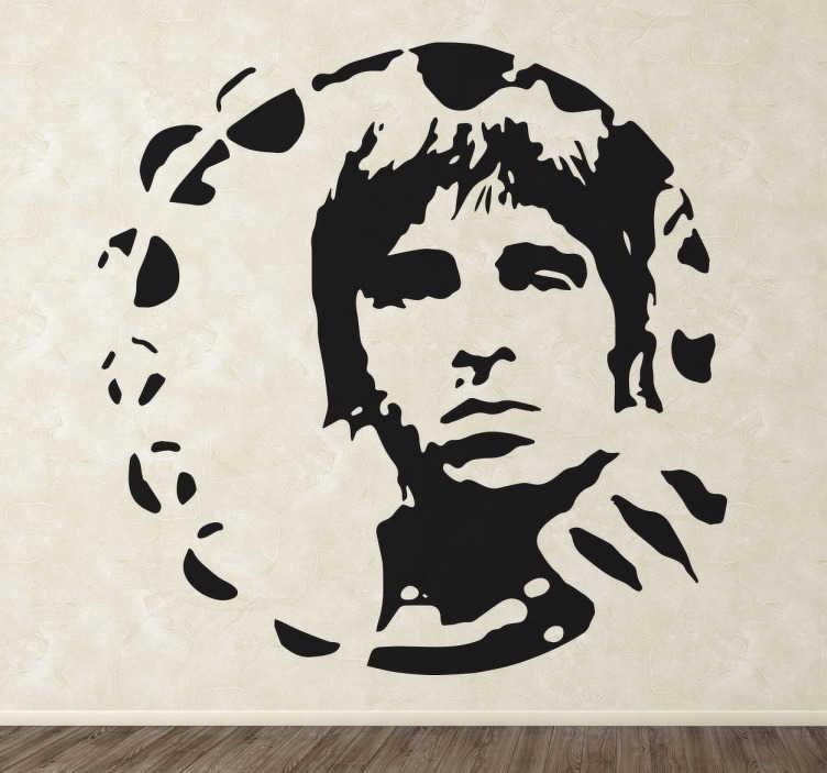 TenVinilo. Vinilo decorativo Noel Gallagher. Vinilo decorativo de Noel Gallagher, un retrato que puedes hacer tuyo y colocar en cualquier estancia, des de tu salón al dormitorio.