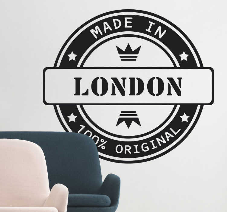 TenStickers. Made in London Decorative Sticker. If you have a connection to the city of London or all things British, let your home reflect it with this stylish monochrome stamp style