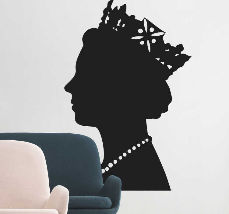 TenStickers. Queen of England Profile Sticker. A silhouette wall sticker with the profile of the UK's reigning monarch; Queen Elizabeth.