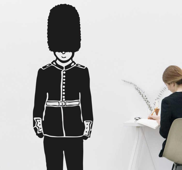 TenStickers. Einfarbiger Queen Guard Aufkleber. Schöne einfarbige Illustration der berühmten Wächter, die auch als Queen's Guard bekannt sind als Wandtattoo