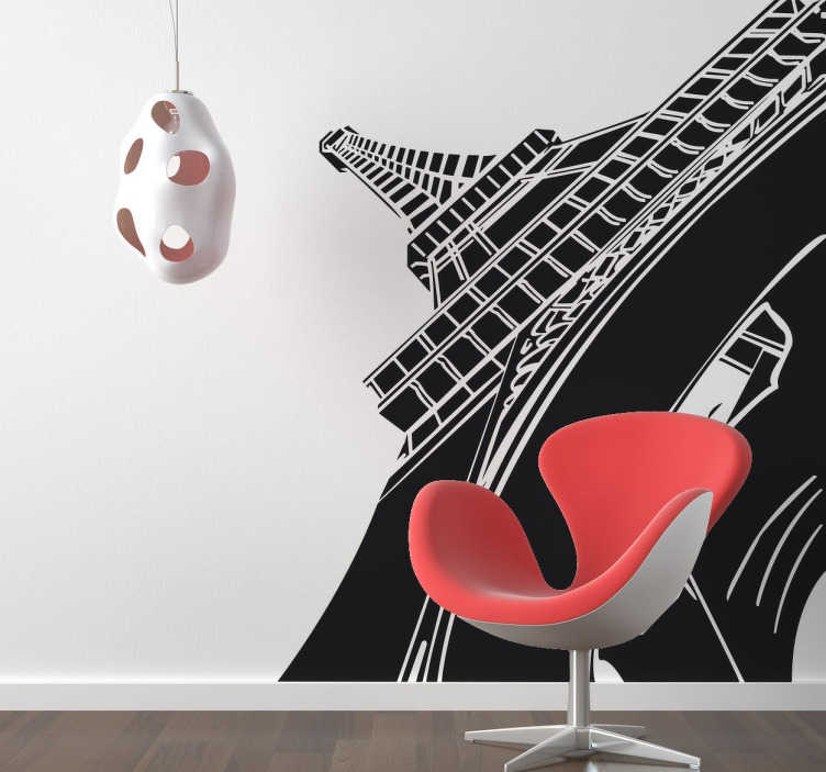 TenStickers. Eiffel Tower Perspective Wall Sticker. A dramatic Eiffel Tower wall sticker with a creative perspective view that creates the impression that you are standing beneath it.