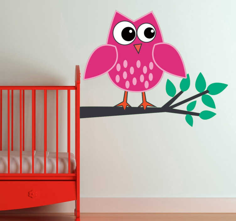 TenStickers. Pink Owl Kids Sticker. Pink owl decal from our collection of bird wall stickers to decorate the little one's bedroom at home. High quality cartoon decal of an owl resting on a tree branch to add a touch of personality to your home decor.