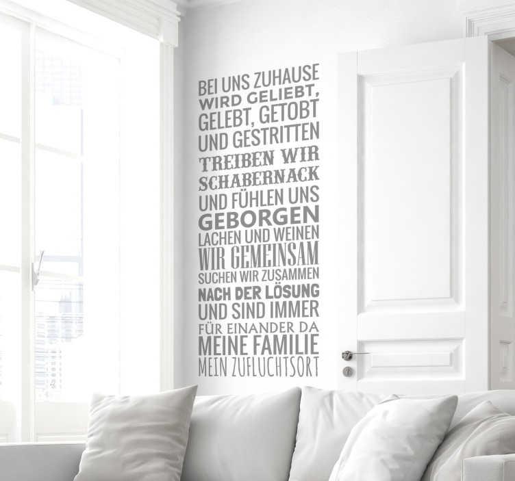 TenStickers. Meine Familie Wandtattoo. Dekoratives Wandtattoo für Ihr Zuhause. Bringen Sie diesen süßen Text, der ausdrückt, wieso und wie sehr Sie Ihre Familie lieben an die Wände.