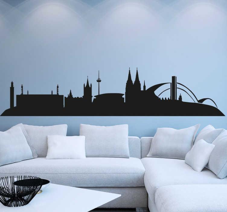 TenStickers. Wandtattoo Skyline Köln. 50667 Köln - Dekorieren Sie Ihr Zuhause mit diesem besonderen Skyline Wandtattoo.