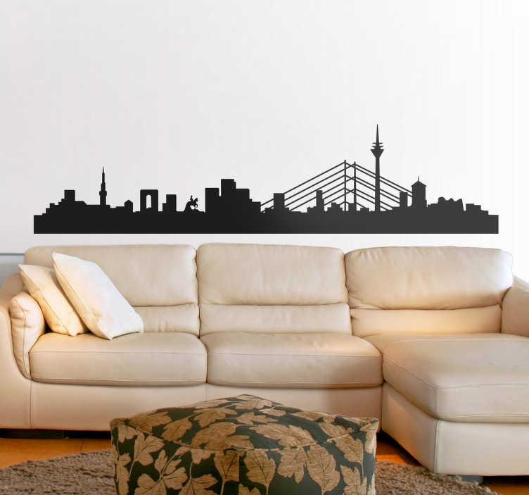 TenStickers. Adesivo silhouette Düsseldorf. Adesivo decorativo con la silhouette di Düsseldorf, uno dei cinque centri più importanti per quanto riguarda l'economia e la cultura  tedesca.