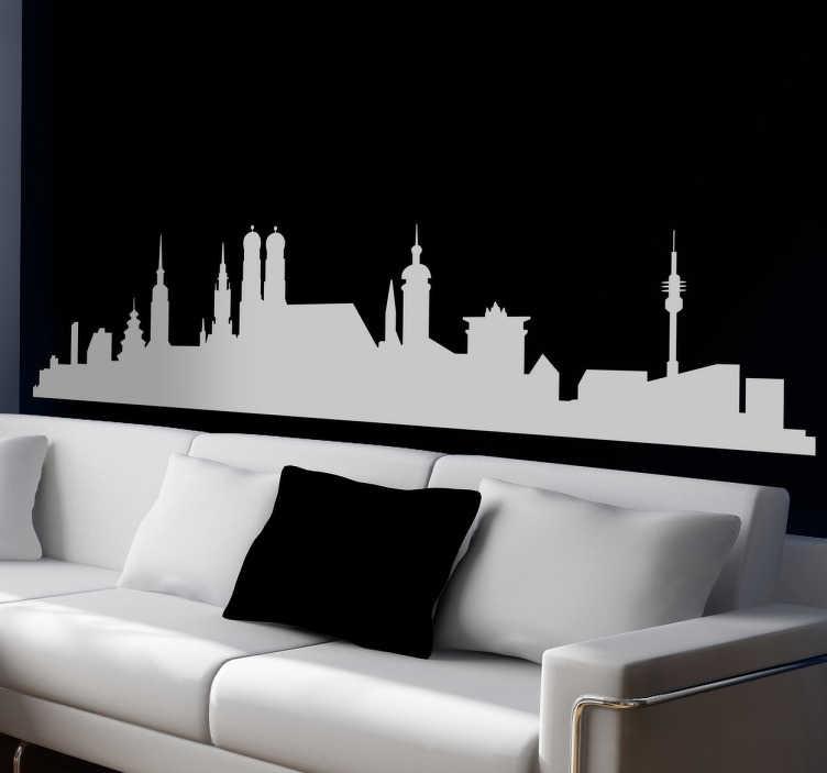 TenVinilo. Vinilo decorativo skyline de Munich. Vinilos pared con la silueta de varios de los edificios más reconocidos de esta famosa ciudad alemana.