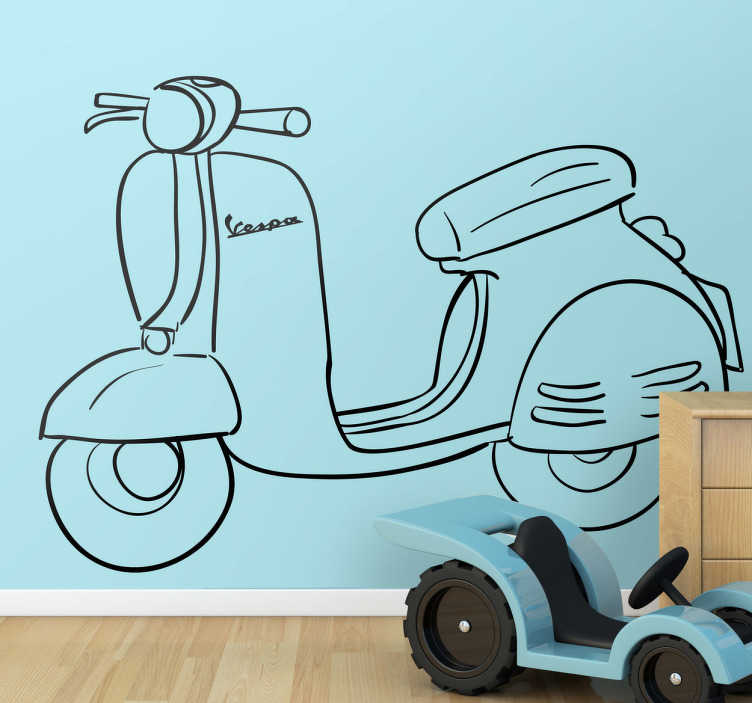 TENSTICKERS. Vespaスクーターオートバイの車のステッカー. ベスパ、それはいくつかの人々を夢にさせ、過去の年を思い出させる。絵としてのこの魅力的なベスパ壁のタトゥーは、あなたに夏と良い気分の毎日を思い出させます! 50色以上