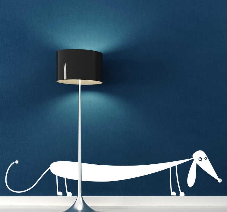 TenVinilo. Adhesivo decorativo perro salchicha. Adhesivo decorativo de pared representado por un simpático perro salchicha. Si te gustan las mascotas y concretamente los perros, este simpático, simple y elegante diseño deberá ser tuyo.