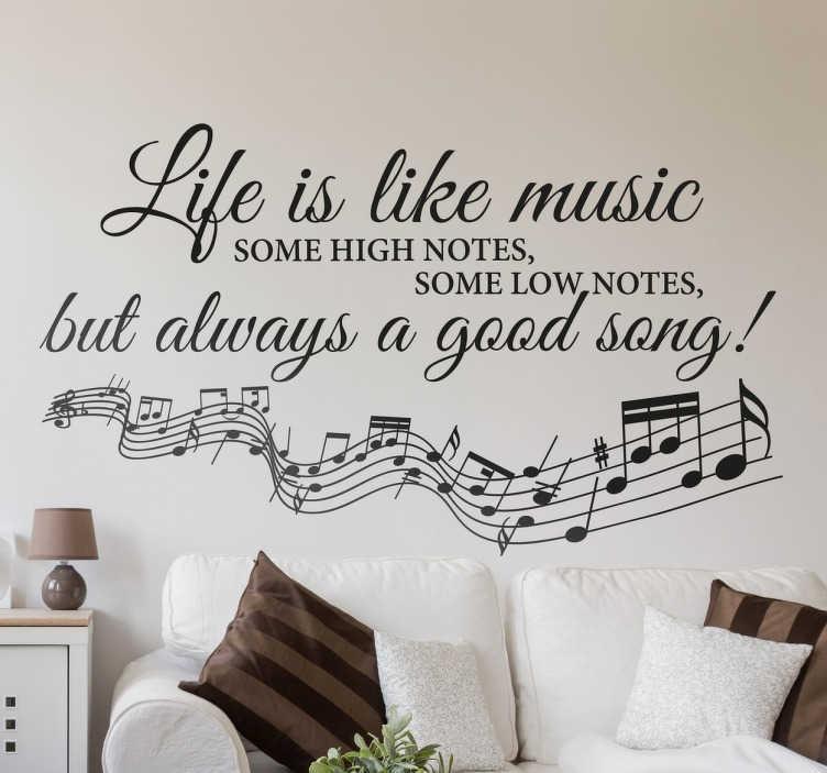 TENSTICKERS. 人生は音楽壁の引用符ステッカーのようです. 音楽の壁のステッカー、筆記体の筆記体と音楽のノートは人生についての感動的なフレーズを示しています。