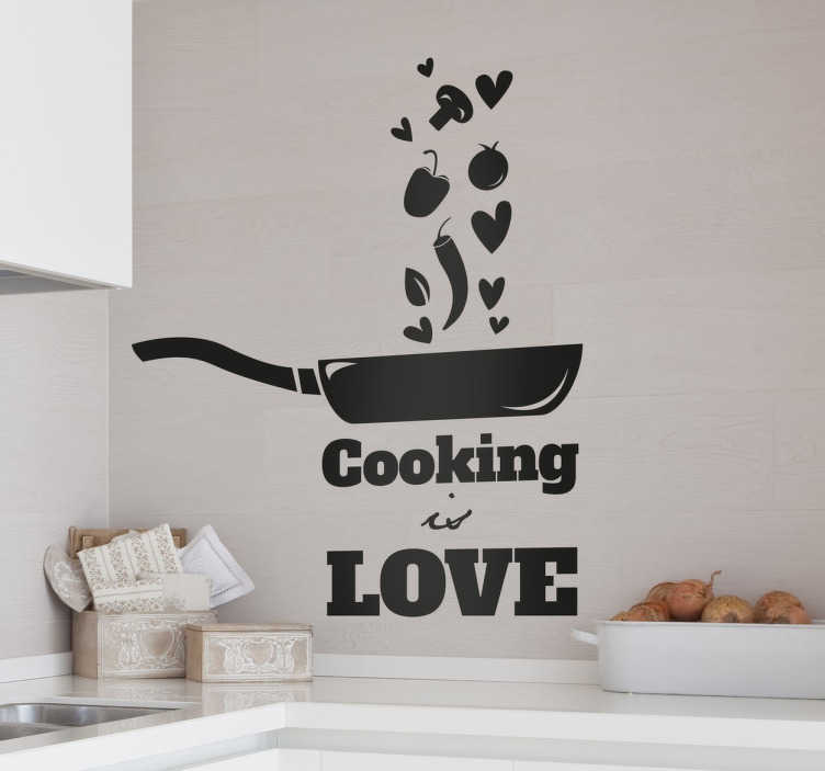 "TenStickers. Cooking is Love Wall Sticker. A kitchen wall sticker for everyone who feels passionate about cooking. Monochrome design of a frying pan tossing some food and hearts, complete with the phrase ""cooking is love"" written underneath."
