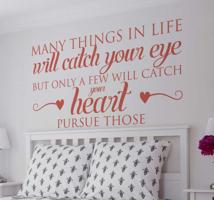 Catch Your Heart Quote Wall Sticker