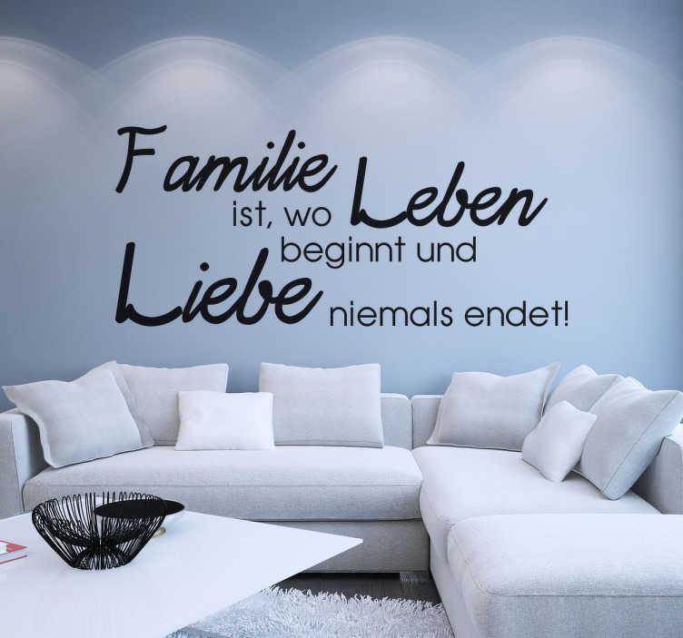 """TenStickers. Wandtattoo Familie ist.... Tolles Wandtattoo für die Wände des Wohnzimmers, der Küche oder des Esszimmers mit dem Spruch """"Familie ist, wo Leben beginnt und Liebe niemals endet!"""""""