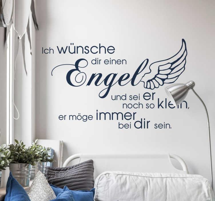 """TenStickers. Wandtattoo Ich wünsche dir einen Engel. """"Ich wünsche dir einen Engel und sei er noch so klein, er möge immer bei dir sein."""" Süßes Wandtattoo für das Kinderzimmer."""