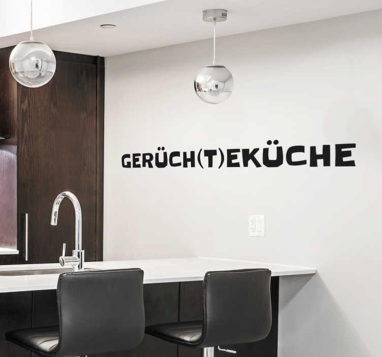 TenStickers. Wandtattoo Gerüchteküche. Witziges Wandtattoo für die Küche, das aus einem Wortspiel heraus entsteht - Gerüche und Gerüchte alles in einer Küche