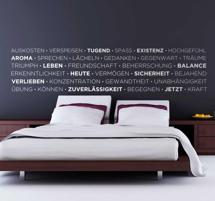 TenStickers. Wandtattoo Lebensweisheiten. Dekoratives Wandtattoo mit vielen Wörtern , die manchen im Leben wichtig sind.  Eerfen Sie jeden Morgen einen Blick auf diese Lebensweisheiten.