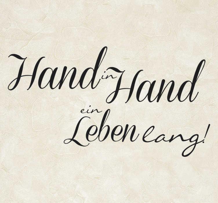 TenStickers. Wandtattoo Hand in Hand. Hand in Hand ein Leben lang - dekoratives Wandtattoo für Ihr Zuhause.