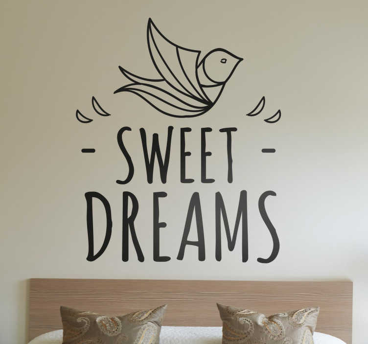 """TenStickers. Sweet Dreams Muursticker. Een leuke quote muursticker met de tekst """"Sweet Dreams"""" geschikt voor iedere ruimte in uw woning. Kleur en afmetingen aanpasbaar. Eenvoudig aan te brengen."""