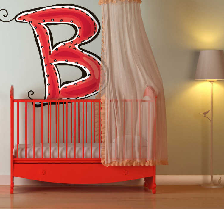TenStickers. Letter B Sticker. Decorative sticker of the letter B. Does your child´s name start with B?  A brilliant decal to decorate your child´s room.