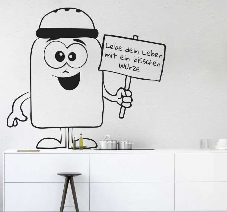 """TenStickers. Wandtattoo Würze dein Leben. Wandtattoo für die Küche, das einen Salzstreuer mit einem Gesicht illustriert, der ein Schild mit """"Lebe dein Leben mit ein bisschen Würze"""" festhält"""