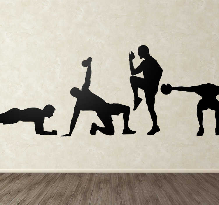 TenStickers. Naklejka Fitness. Zbiór 4 naklejek,który przedstawia 4 mężczyzn, którzy wykonują ćwiczenia sportowe. Idealna do dekoracji siłowni czy każdego centrum sportowego.