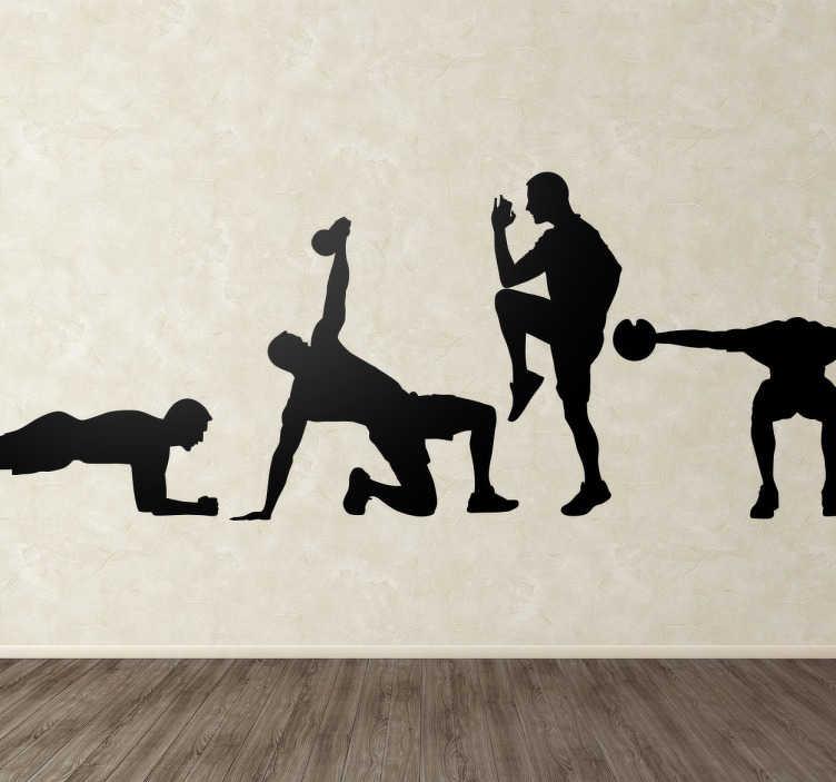 Vinilos gimnasio stickers silueta fitness