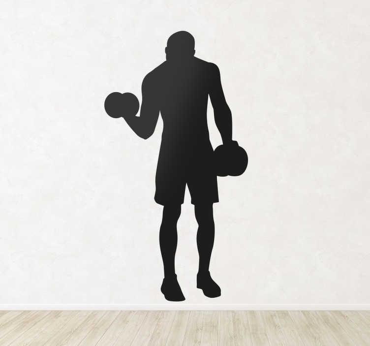 TenStickers. Autocolante decorativo ginásio levantar pesos. Este autocolante decorativo ginásio, ilustrado com a silhueta de um homem a levantar pesos.