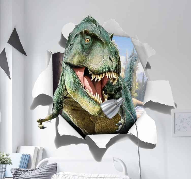 TenStickers. Autocolante T-Rex 3D. Adesivo dinossauroem que irá aparecer um feroz tiranossauro que parte a parede do quarto dos mais jovens lá de casa.