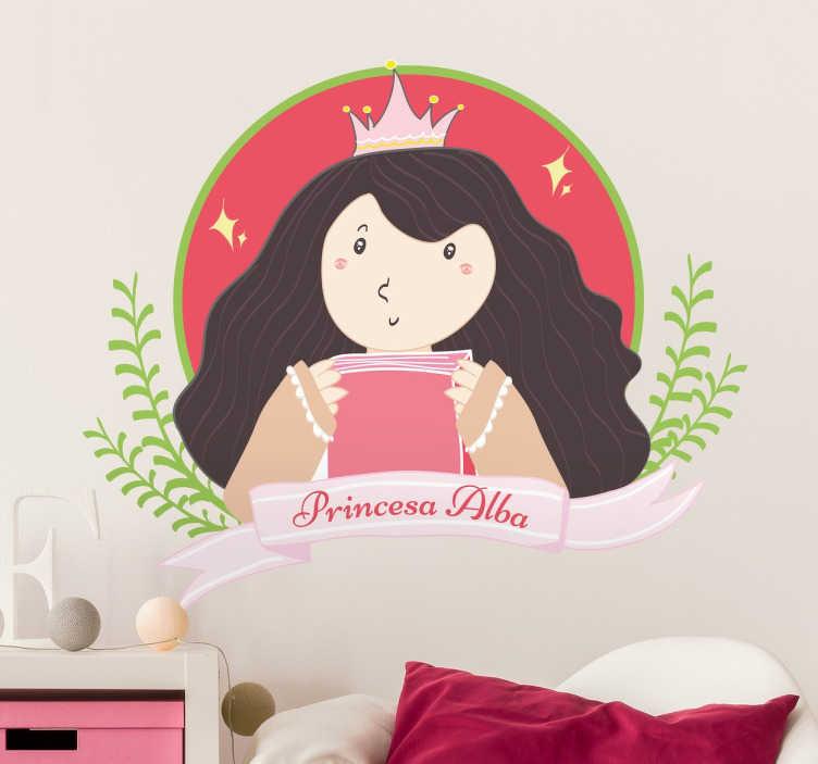 TenStickers. Sticker dessin princesse avec prénom. Un sticker pour enfant représentant une princesse dont le prénom peut être changé, applicable sur toute surface et personnalisable.