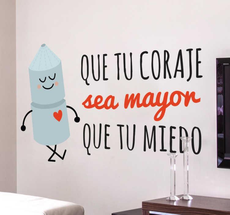 TenStickers. Adesivo decorativo motivazionale in spagnolo. Adesivo originale con disegno esclusivo e una frase motivazionale accompagnata da un divertente disegno di un personaggio di latta.