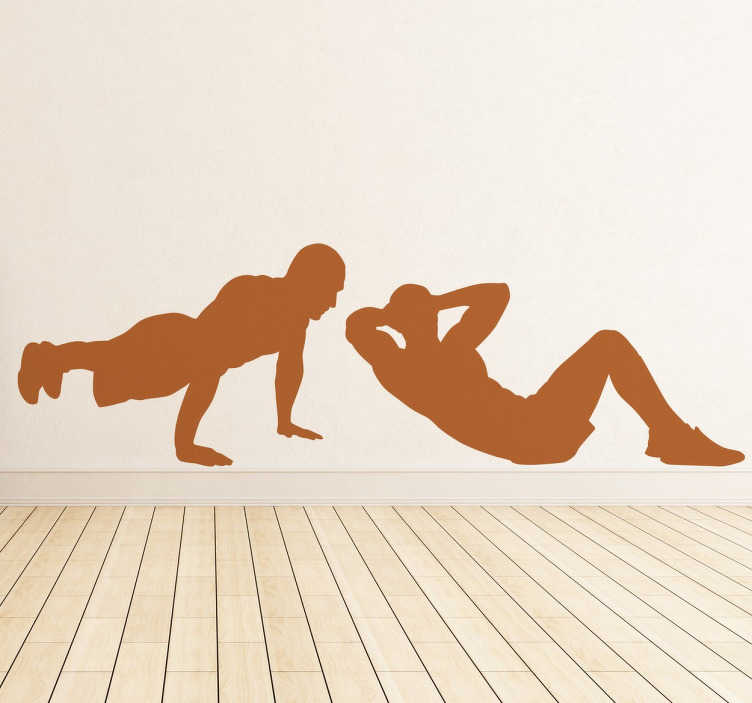 TenStickers. Floor Exercises Silhouette Wall Sticker. Are you looking for some inspiration for your workout? This fitness wall sticker is ideal for decorating your home or business.