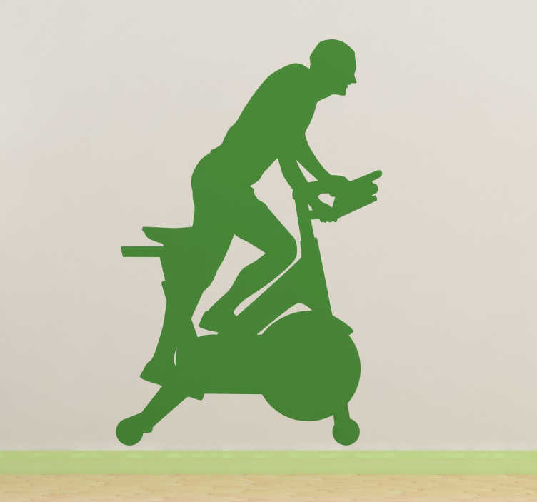 TenStickers. Fitness Bike Wall Sticker. From our collection of sports and fitness wall stickers, a silhouette design of a man running on an exercise bike.