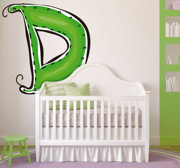 TenVinilo. Vinilo infantil dibujo letra d. Adhesivo de decoración infantil de las letras del abecedario. Letra D en color verde, con la inicial de su nombre, estupendo para adornar la pared y personalizar su habitación.