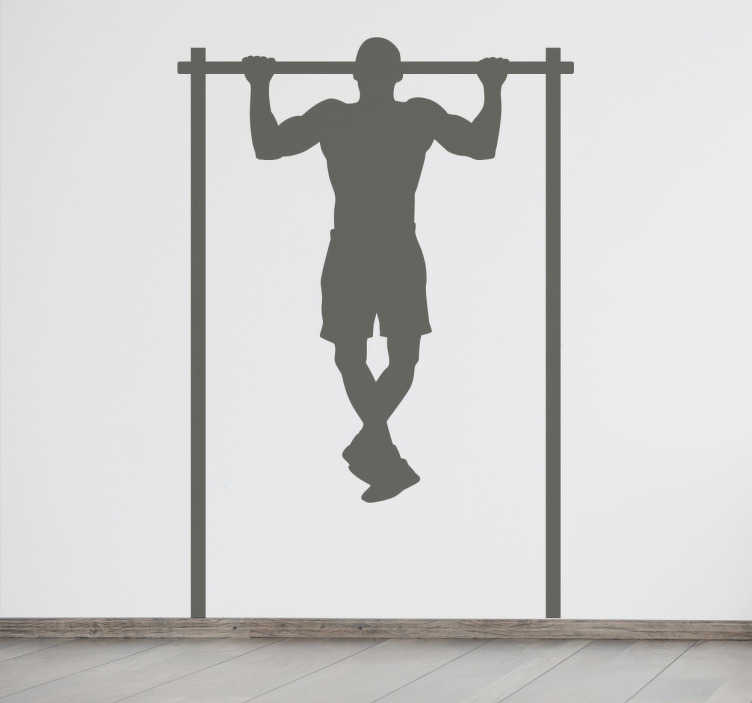 TenStickers. Autocolante decorativo barra. Autocolante decorativo barra da nossa coleção de stickers desporto e fitness, com a silhueta de um homem a fazer exercícios na barra.