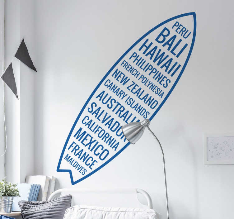 TenStickers. Surf Board with Countries Sticker. From our collection of surfing themed wall stickers, a great design of a surf board filled with the names of countries from around the world.