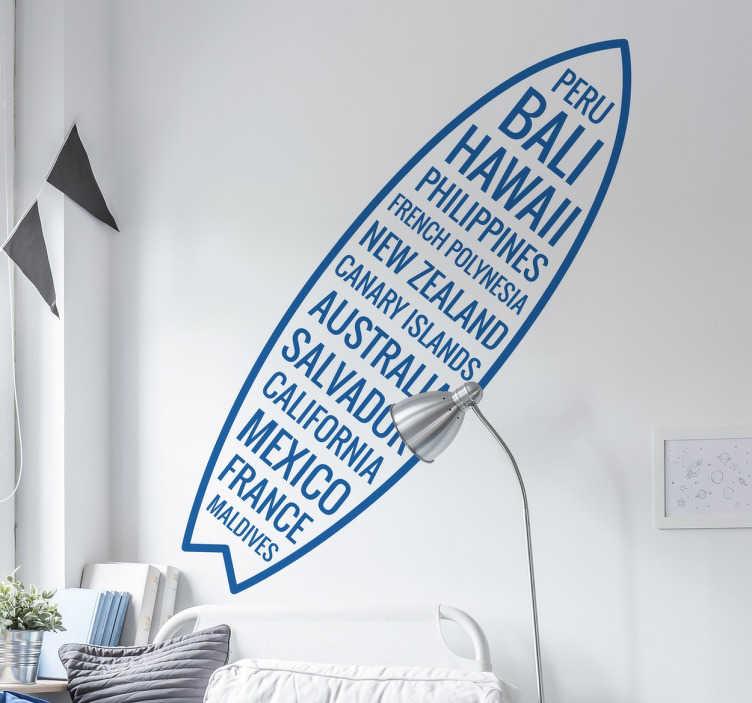 TenStickers. sticker planche de surf pays. sticker planche de surf avec pays du monde entier applicable sur toutes surfaces.