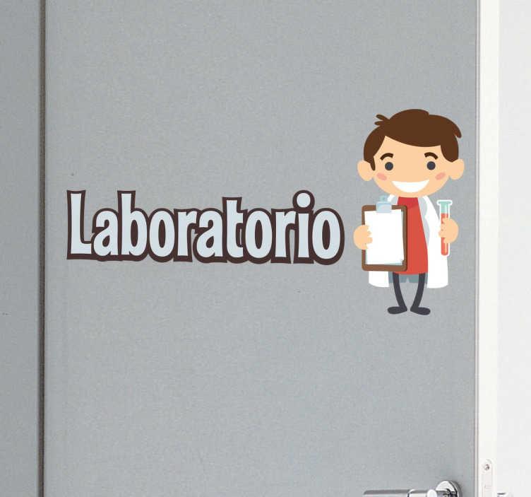 TenVinilo. Vinilo para colegios laboratorio. Pegatinas para centros educativos con los que podrás indicar fácilmente a tus alumnos cuál es el aula de ciencias.